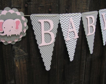 Pink and Grey Baby Shower Banner, Baby Shower Decorations, Pink and Grey Banner