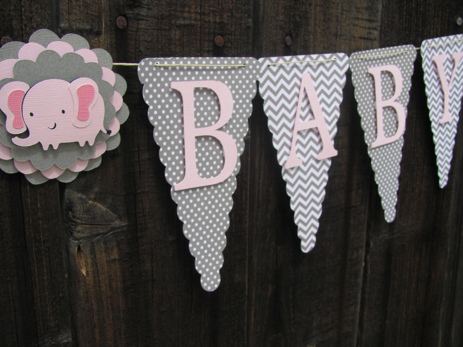 Pink And Grey Baby Shower Banner Baby Shower Decorations