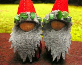 Red Winter Solstice Gnome, Waldorf Peg Doll,  Small Christmas Handmade Waldorf Gnome
