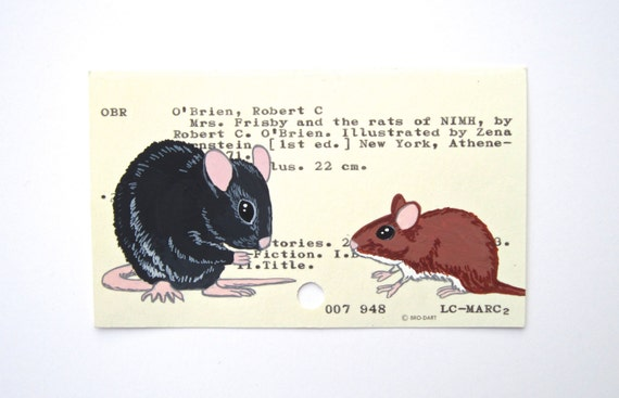 Mrs. Frisby and the Rats of NIMH library card art - Print of my painting of rat and mouse on library card