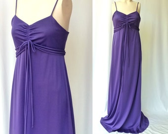 Vintage 70s Maxi Disco Dress -- Grape Soda Purple Prom Gown -- Small / Bust 32 - 34