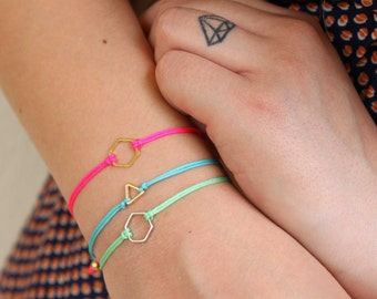Geometric friendship bracelet. Summer triangle bracelet. Minimalist neon bracelet. Geometric shape adjustable bracelets