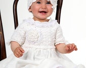 Linen christening gown, baptism gown, crochet christening dress, booties / shoes and hat with flower