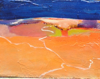 """Oil painting abstract landscape southwestern sky 5""""x7"""" canvas on foamcore ready to frame Jan Smiley"""