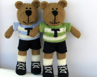 Custom Personalized Toy - Teddy Bear Twins - Small Toy - Hand Knitted Bear - Stuff Animal - Striped Letter Sweater - Kids Toy - Plush Bear