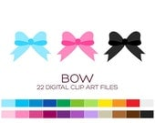 Bow Clipart for Personal & Commercial Usage - 22 digital bows / 2.5x2 inches - A70010