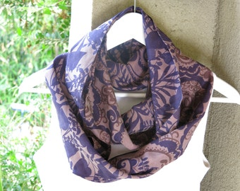 Infinity Purple Scarf, Classic Scarf , Silk and Cotton Scarf, Soft  Scarf  Every Day Scarf, Gift for Her