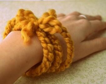 Knit Bangle Bracelet- Mustard, Yellow, Yarn, Handmade, Knit, Jewelry, Crochet, Hand Knit
