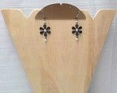 Black Pearl Floral Earrings