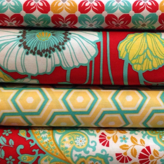 Quilter's Fat Quarter Bundle of Joel Dewberry Notting Hill- Poppies, Kaleidascope, Hexagons and Square Petals