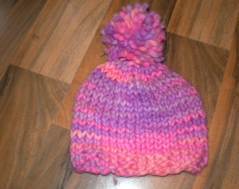 cute and soft hand knitted baby hat with pompom pink and purple mix 0-3 months
