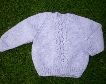 Lovely hand knitted baby jumper/ sweater lilac with pretty front panel 0-3 month