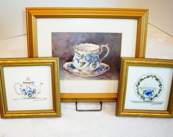 Vintage Wall Art - Shabby Chic Pictures - Home Decor Frames - Teacup Pictures - Teapot Picture - Cottage Decor - Bed & Breakfast Wall Art