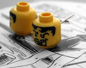 Nerdy Character Head Earrings (Goatee) Upcycled toy building blocks - 'geek chic'