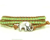 Peridot Green Beaded Leather Wrap Bracelet, Triple Wrap, Seed Beads, Elephant, Boho - jlktreasures