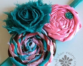 Teal & Pink Headband  - Girls Headband -Adult Headband - Boutique style - Shabby Chic