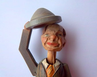 Top of the Morning - I Tip My Hat to You - OOAK - Animated Bottle Stopper  - A Handcrafted ANRI Carving - Vintage Home Bar Decor