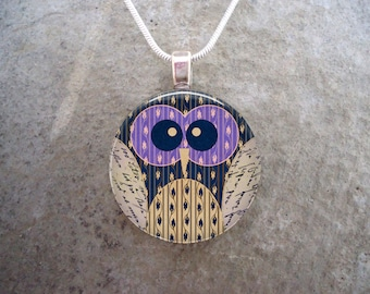 Owl Jewelry - Glass Pendant Necklace - Owl 18