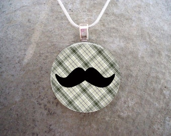 Plaid Mustache Jewelry - Glass Pendant Necklace - Mustache 2