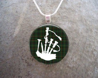 Celtic Jewelry - Glass Pendant Necklace - Highland Bagpipe Jewellery - Bagpipes on Green Tartan