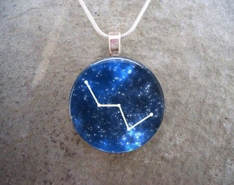 Constellation Cassiopeia - Astronomy Jewelry - Glass Pendant Necklace