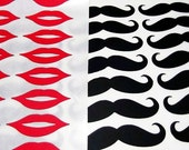 "30 ct 2"" VINYL Mustaches Stickers and 30 ct 2"" Red Lips Stickers Glossy 60ct Total"