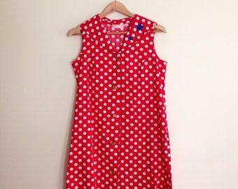 Vintage Red & White Polka Dot Nautical Sailor Collar Dress / Rockabilly Shirt Dress / Shift Dress