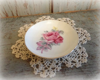 bone china butter pat with pink roses / shabby chic cottage decor