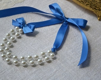 Abigail: Double / Two Strand Linked Pearl Necklace - White Pearls with Royal Blue Ribbon & Bow - Gold Findings