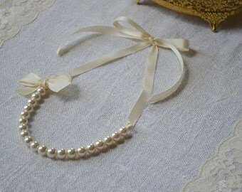 Nora: Beautiful Ivory Pearl with Ivory Ribbon Necklace with Bow - bridesmaid