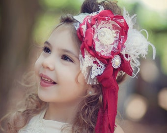 Gorgeous Shades of RED and Ivory Cream Deluxe Handmade Flower Headband, Feathers,  silk rosettes Pearls