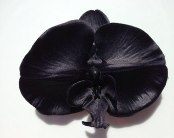 Lovely Large Black Orchid Hair Clip by PuffyCheeks