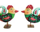 unshaven bird,  painted folk art doll - soft sculpture