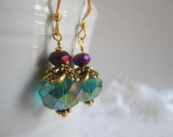 Peacock Wedding Peacock Bridesmaid Earrings Teal and Purple Wedding Maid of Honor Fall Wedding