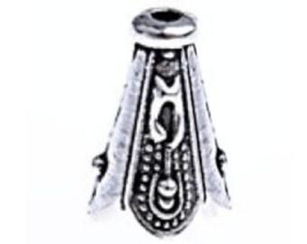 12pc antique silver finish 12x7.5mm metal cone shape bead caps-8048