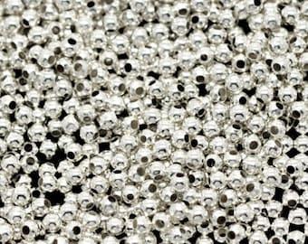 500pc 2mm silver finish metal round iron beads-8945
