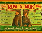 Camp Run A Muk Sign 8x12 Metal Sign Summer Camp Lake House Camping RV Tent Camp Fire Rustic Bear Welcome