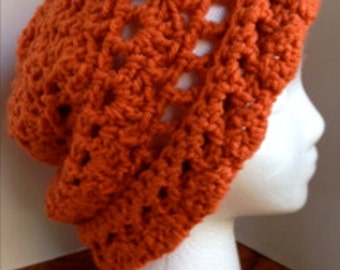 Vintage Style Crochet Cloche Lacy Women's Hat in Orange