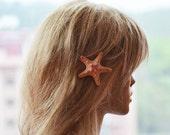 Starfish Hair Clip, Starfish Hair Accessories, Peach  Starfish Hair, Beach Hair, Mermaid Hair, Beach Weddings, Starfish Hair Accessories