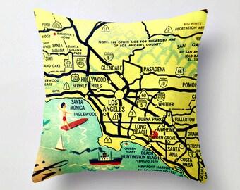 California Pillow Covers, Los Angeles California Pillow Travel Gift, Anaheim Pasadena Hollywood Beverly Hills Throw Pillow 18x18