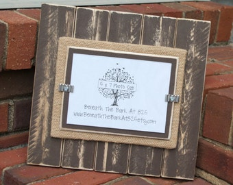 Picture Frame - Distressed Wood - Vertical Boards - Holds a 5x7 Photo - Chocolate Brown & Burlap