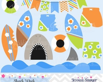 INSTANT DOWNLOAD, shark clip art, beach clipart, surfboards, nautical graphic, commercial use for invitations, announcements