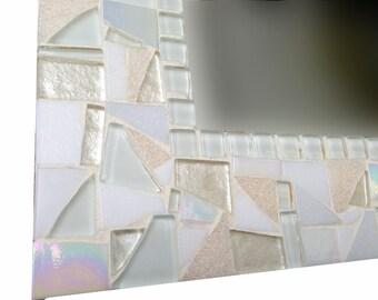 All White Mosaic Mirror, Square Wall Mirror