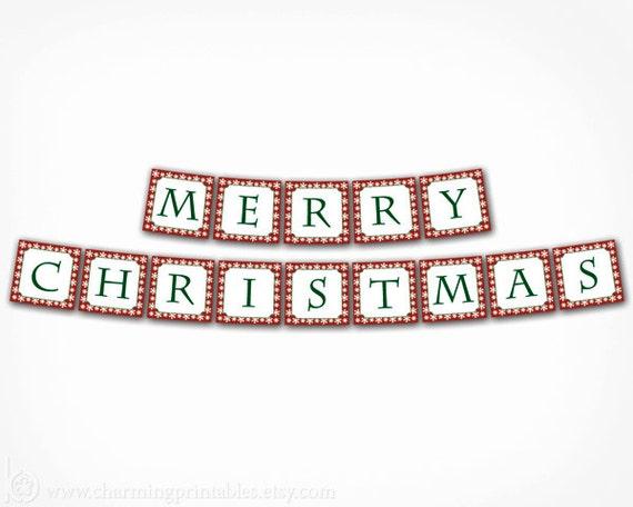 Merry christmas banner printable diy digital file instant