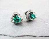 Vintage 1960s Sterling Silver Emerald and Rhinestone Earrings