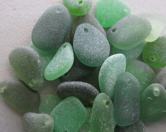 25 Genuine Drilled Seaglass, Assorted Beads, Jewelry Supply, Beach Glass Lot, Bulk Beach Glass, Green Seaglass