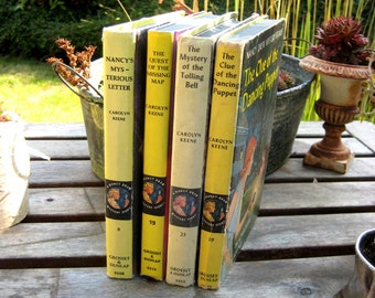 Vintage children's books, Nancy Drew Mysteries, Carolyn Keene, set of  4 hardcover, color cover books, instant collection