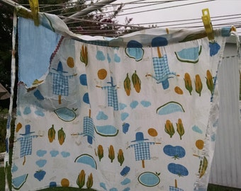 Kitschy 50s Half Apron, Scarecrows and Corn
