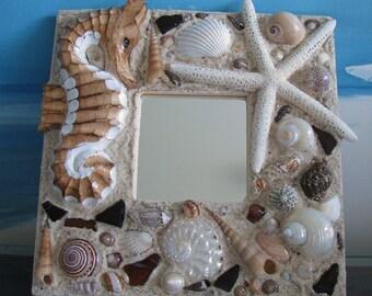 Seahorse~Seashell Mirror~Starfish Mirror~Sea Glass Mirror~Coastal Home Decor~