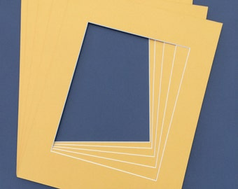 Package of (10) 11X14 Mustard Yellow  Picture  Mats with White Core Bevel Cut for 8X10  Pictures